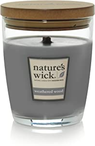 Nature's Wick Weathered Woods Scented Candle 10 oz. Jarred Candle Natural Wood Wick Candle with up to 65 Hour Burn Time