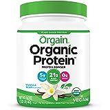 Orgain Organic Plant Based Protein Powder, Vanilla Bean - Vegan, Low Net Carbs, Non Dairy, Gluten Free, Lactose Free, No Suga