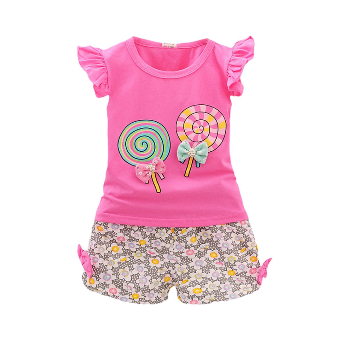 Younger Tree 2PCS Toddler Kids Baby Girls Outfits Lollipop Print T-Shirt Tops+Short Pants Set