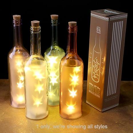 Botella clásica de vidrio con luz LED