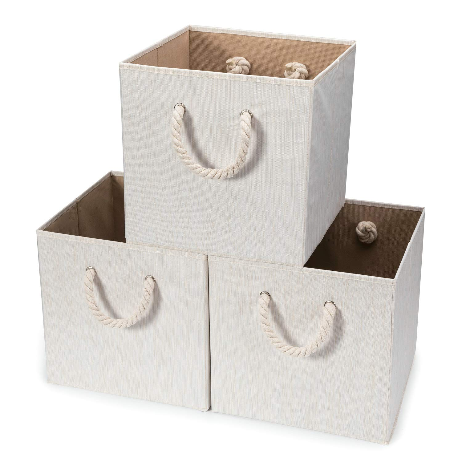 Hadioo 3 Pack Foldable Bamboo Fabric Storage Bins for Cube Organizer with Cotton Rope Handles, Collapsible Basket Box Organizer for Shelves and Closet- Beige 13x13x13 inch