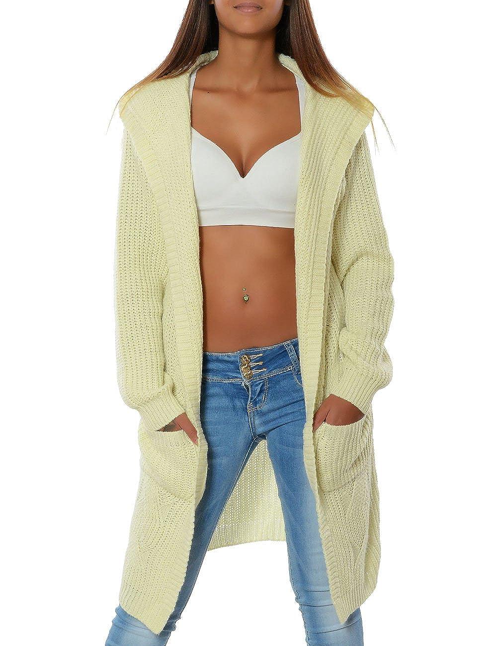 FrauenStrick Jacke Mantel Pullover Strickpullover mit Kapuze Strickjacke Sweater