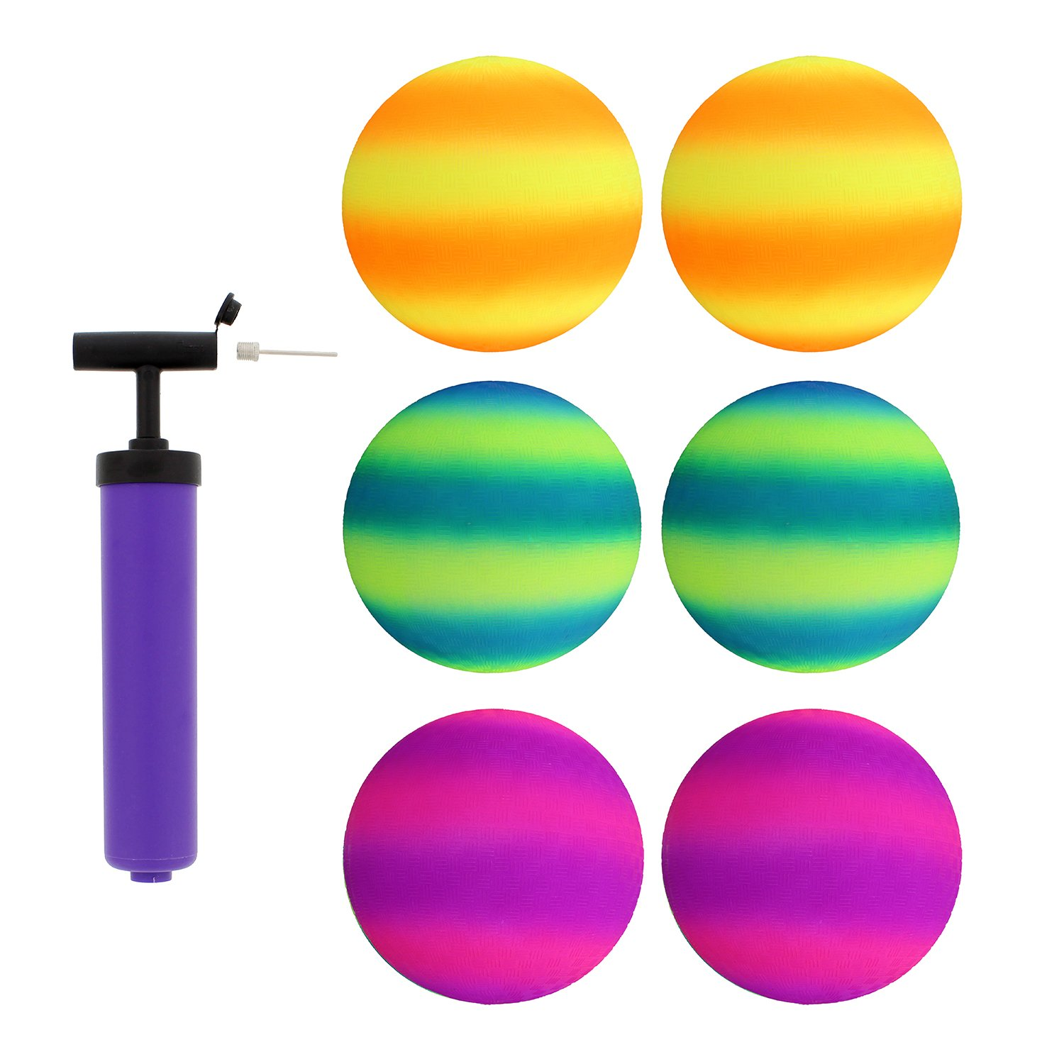 Get Out! Rubber Play Ball 6pk & Inflator, 8.5in (3) 2-Toned Pairs - Small Playground Ball Four Square Balls & Pump