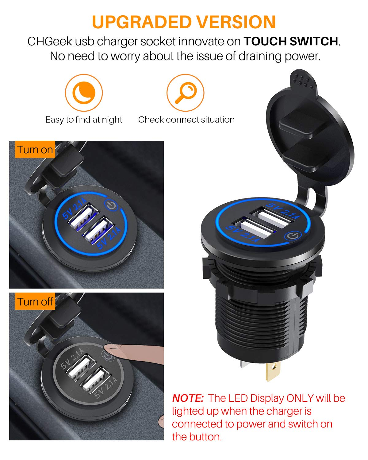 Boat CHGeek 12V//24V 36W Aluminum Waterproof Dual QC3.0 USB Fast Charger Socket Power Outlet with LED Digital Voltmeter for Marine Truck and More Motorcycle 【2 Pack】 Quick Charge 3.0 Car Charger