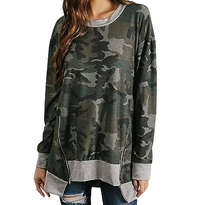 Bbalizko Womens Loose Tops Long Sleeve Camo Printed Zipper Irregular Hem Sweatshirt