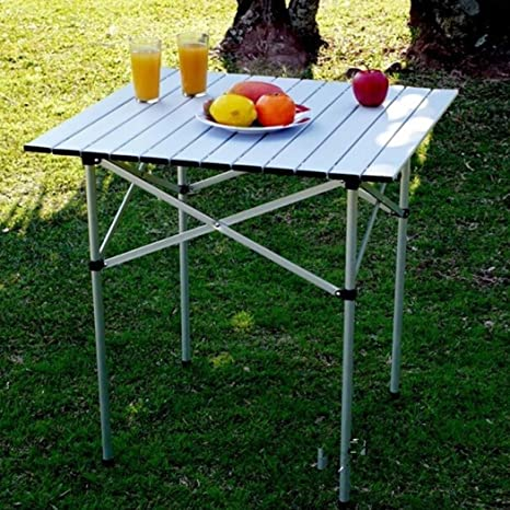Dtemple 26.5 X 17.55 X 21.84 Inch Aluminum Folding Square Table, Adjustable Collapsible  Card Table