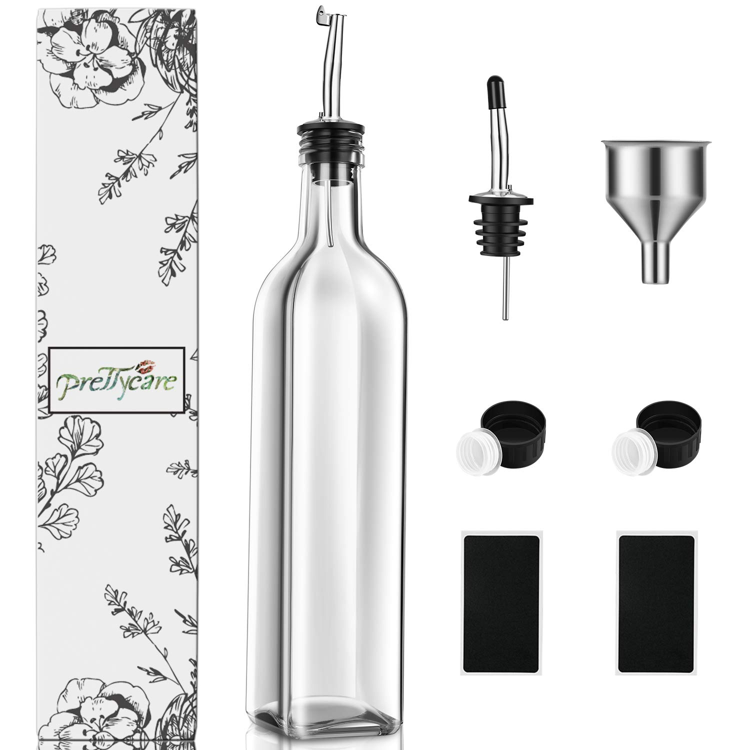Flip Top Pourer and Funnel Set Clear PrettyCare Olive Oil and Vinegar Dispenser Bottles 17oz 500ml Drip-Free Bottle with Stainless Steel Spout Dark Cruet with Extra Lids and Labels