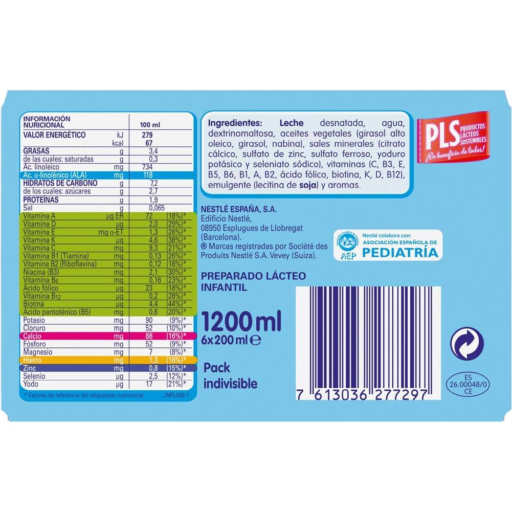 Nestlé Junior 1+ Original - Leche para niños a partir de 1 año - 6x200ml: Amazon.es: Alimentación y bebidas