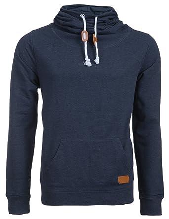 online retailer fe6df 0b4f6 Rocklin Herren Hoodie Kapuzen-Pullover Hoher Kragen Sweatshirt Pulli  Einfarbig Blau & Anthrazit (S-XXL)