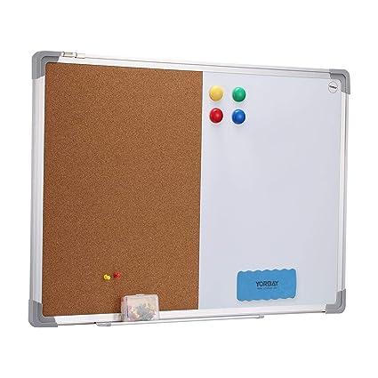 Yorbay – Pizarra combinada Whiteboard y Tablero de Corcho (– 40 x 60 cm 2 en 1 Pizarra magnética con Marco de Aluminio y Borrador y chinchetas