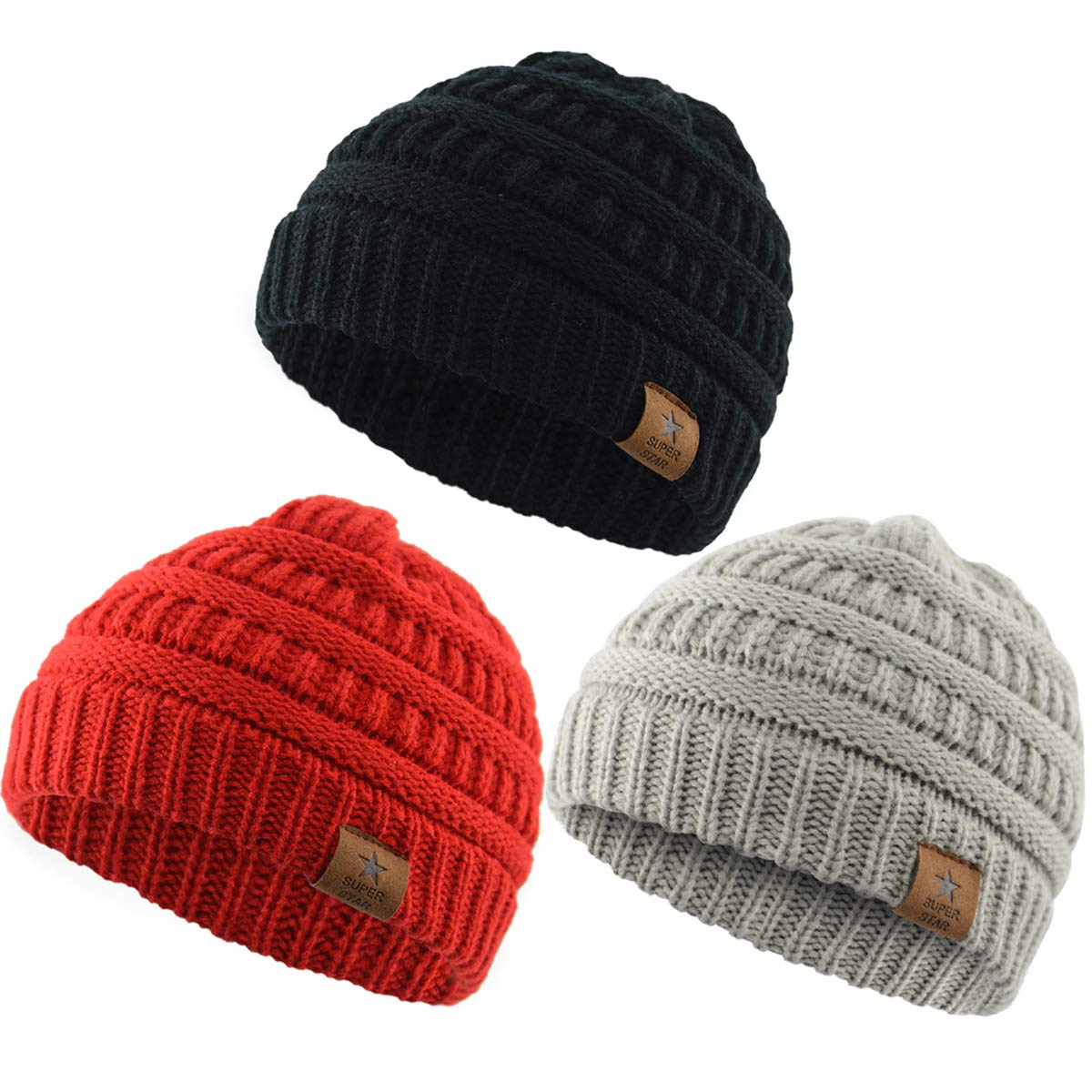 American Trends Kids Baby Boy Girl Winter Knit Warm Hats Infant Toddler Beanie Caps Black