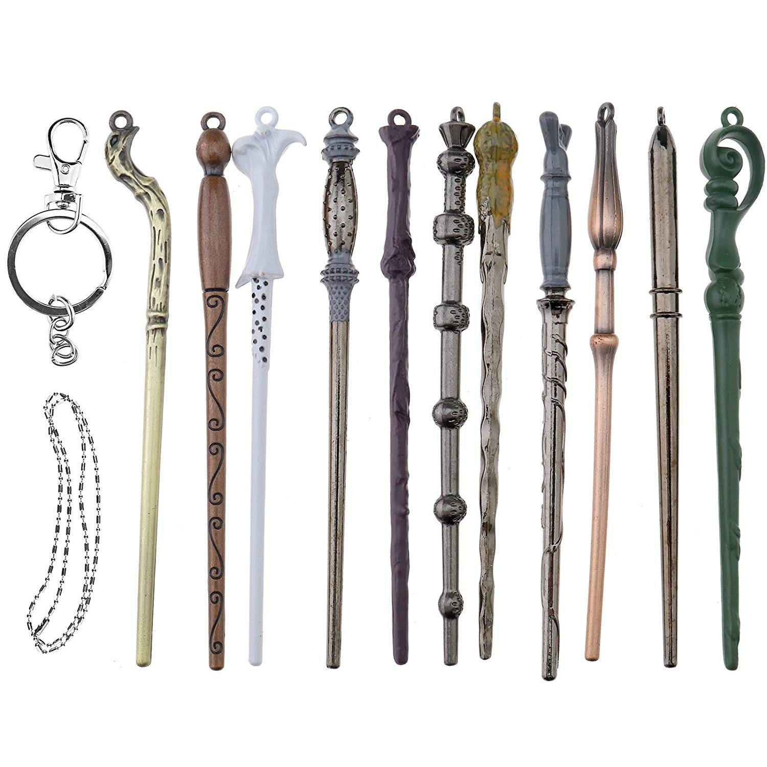 U&X Wizard Magic Wand Set Metal Mini Wand Cosplay Toy for Kids with Keychain and Necklace, Dumbledore Voldemort Magic Magic Wand In A Gift Box (11PC / Set)