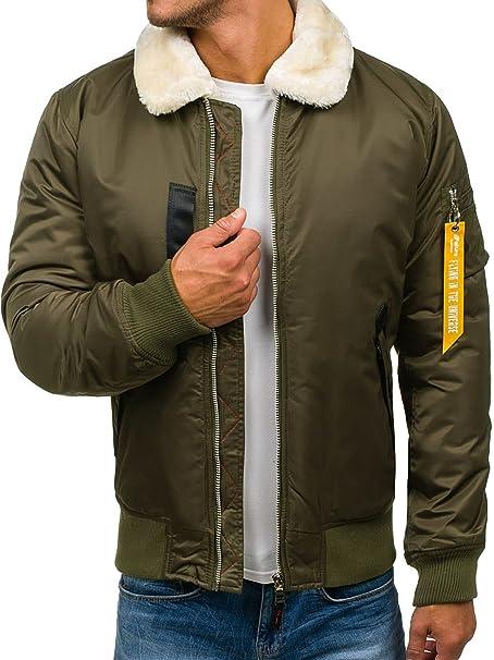 BOLF Hombre Chaqueta Bomber con Cuello de Pelo Desmontable Nature 4607 Verde L [4D4]: Amazon.es: Ropa y accesorios