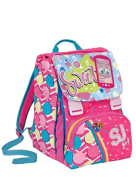 l'atteggiamento migliore 31785 1acb4 Zaino scuola sdoppiabile SJ GANG - GIRL - Rosa Azzurro - FLIP SYSTEM - 28  LT elementari e medie 3 pattine sfogliabili
