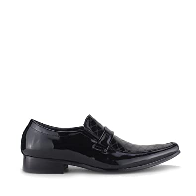 86a29db9832 Mister Carlo Floyd Mens Faux Patent Leather Loafers Black  Amazon.co ...
