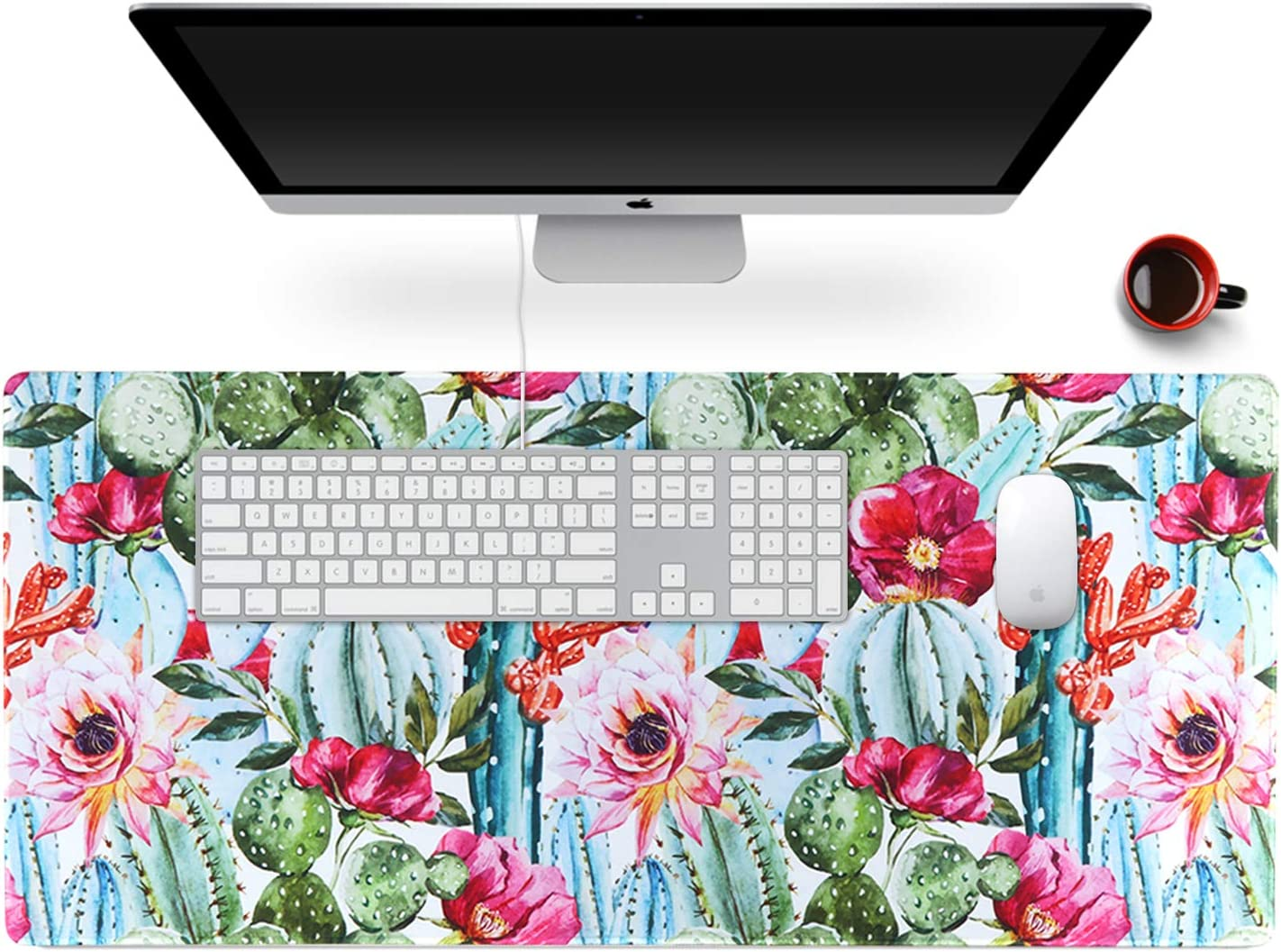 """Anyshock Desk Mat, Extended Gaming Mouse Pad 35.4"""" x 15.7"""" XXL Keyboard Laptop Mousepad with Stitched Edges Non Slip Base, Water-Resistant Computer Desk Pad for Office and Home (Cactus)"""