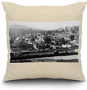 Lantern Press Eureka, Montana - General View of Town Photograph (20x20 Spun Polyester Pillow, White Border)
