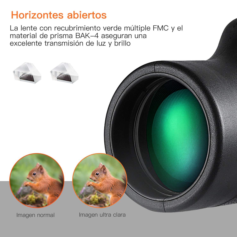 Telescopio monocular, TACKLIFE MCL01 Monocular 10 x 42, Lentes Multicapa Prisma BAK-4, Revestimiento Verde 97M / 1000M, telescopio óptico de Prisma con ...