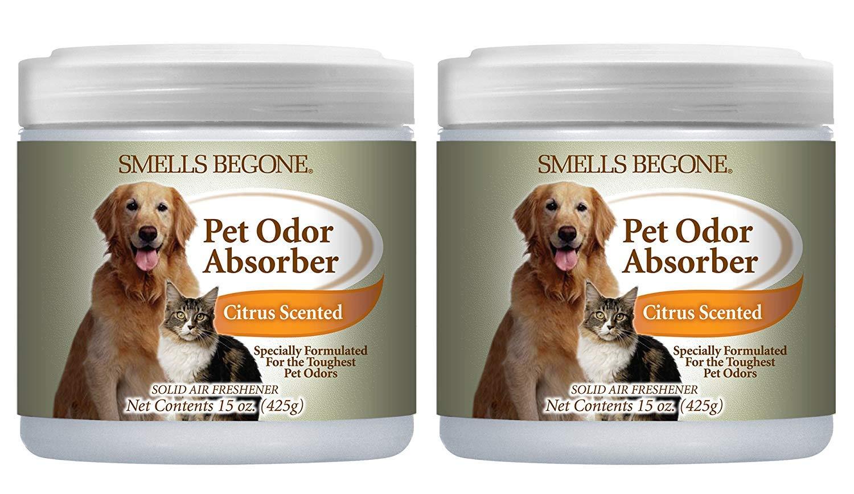Smells BeGone Pet Odor Absorber Citrus Solid Air Freshener 15 oz. Jars (2-Pack) (1)