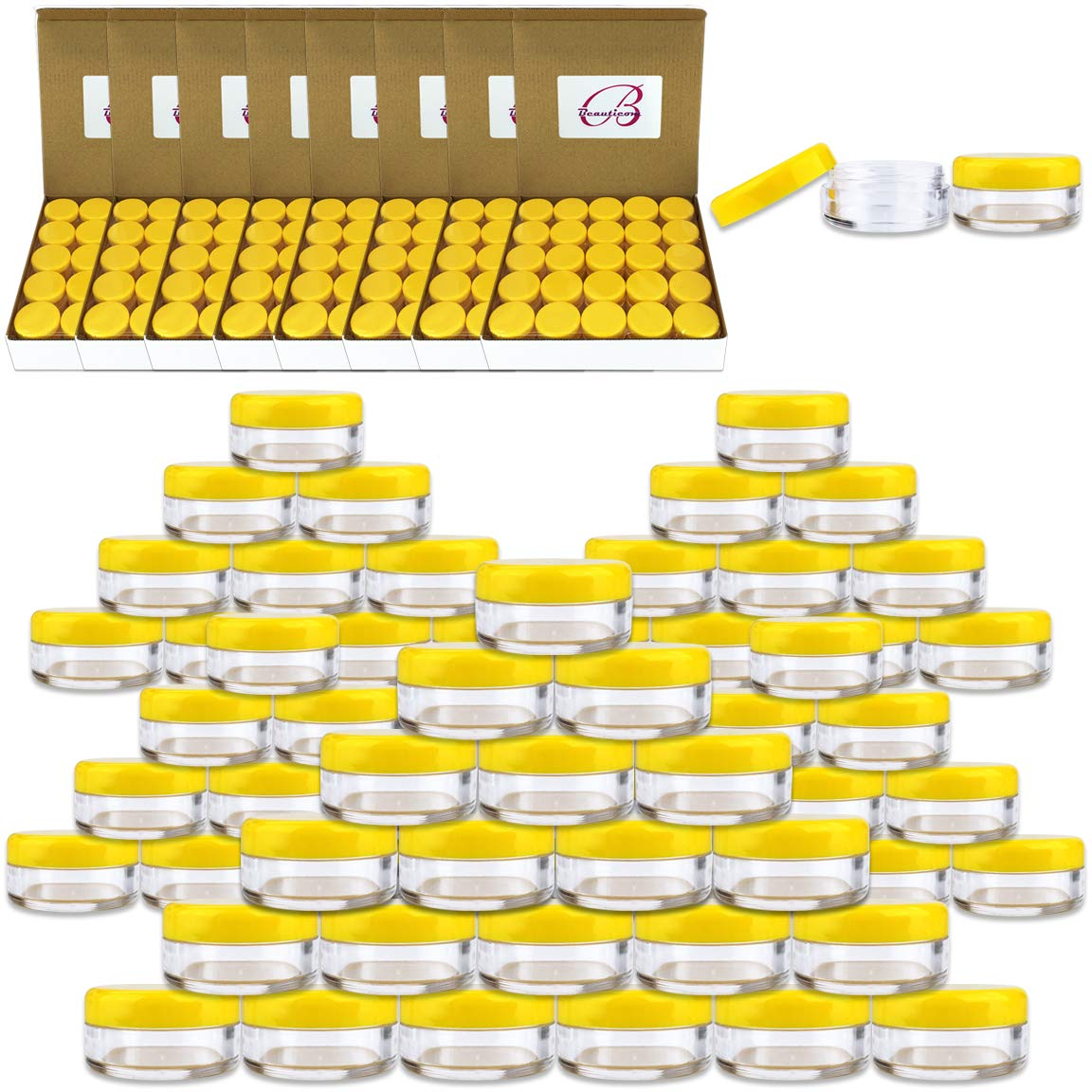 (Quantity: 1000 Pieces) Beauticom 5G/5ML Round Clear Jars with YELLOW Lids for Scrubs, Oils, Toner, Salves, Creams, Lotions, Makeup Samples, Lip Balms - BPA Free by Beauticom