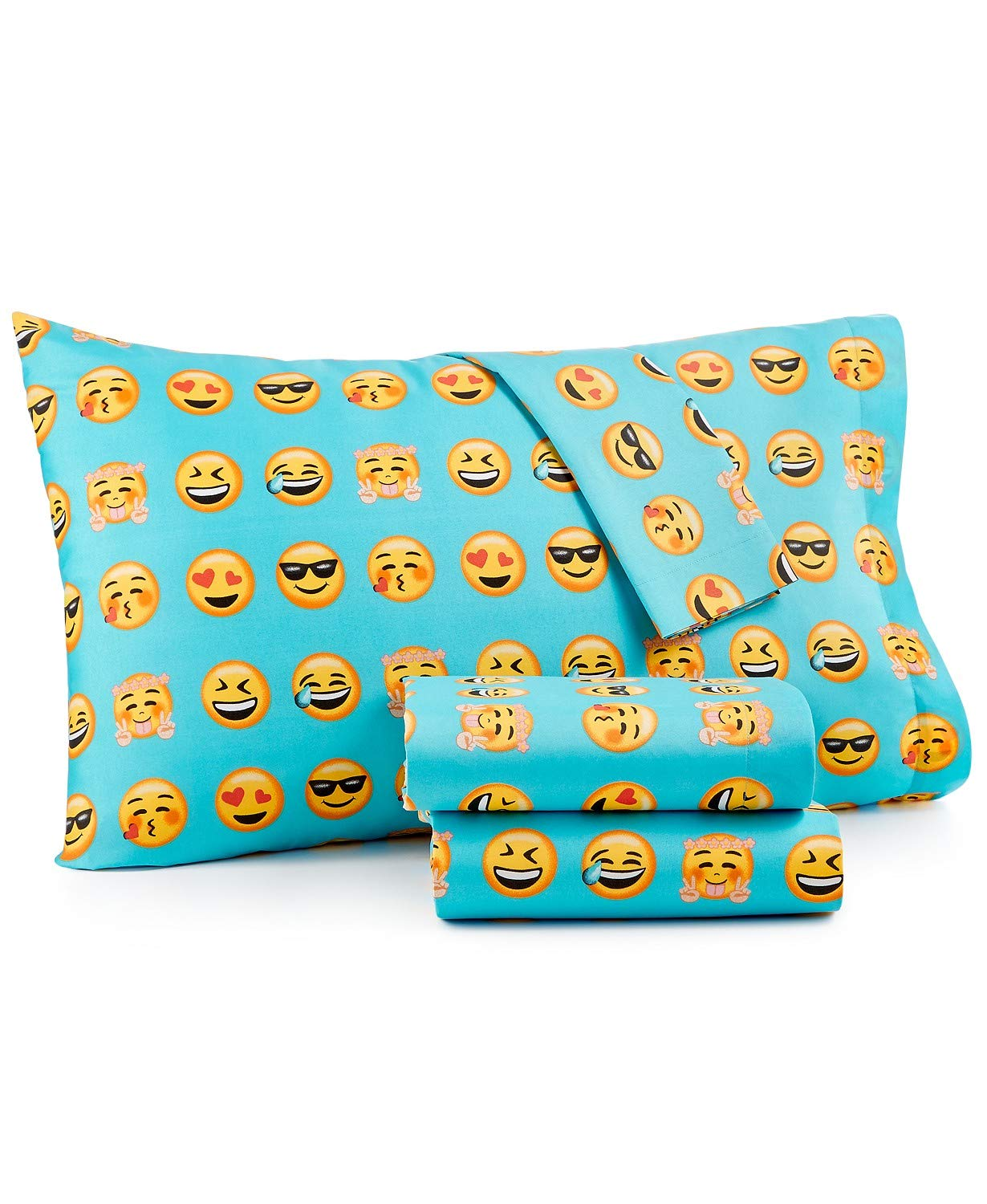 Kids Zone Yellow & Turquoise Emoticon Emoji Bedding - Sheet Set with Pillowcase(s) (Twin)