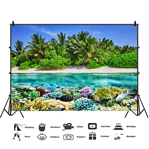 Cassisy 1,5x1m Vinilo Submarino Telon de Fondo Oceano Indonesia Arrecife de Coral Peces Tropicales Playa De Arena Fondos para Fotografia Party ...