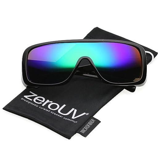 416727318 zeroUV - Men's Oversize Goggle Colored Mirror Mono Lens Shield Sunglasses  60mm (Black/Green