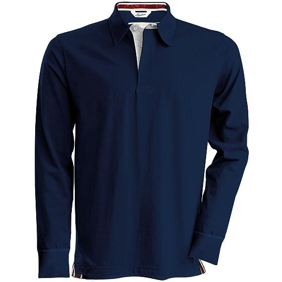c055ad1166812e Kariban Vintage Mens Plain Long Sleeve Rugby Shirt (L) (Vintage Navy ...