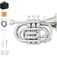 Eastar ETR-330N Standard Pocket Trumpet Bb Nickel Plated with Hard Case, Gloves, 7 C Mouthpiece, Valve Oil, Trumpet Cleaning Kit