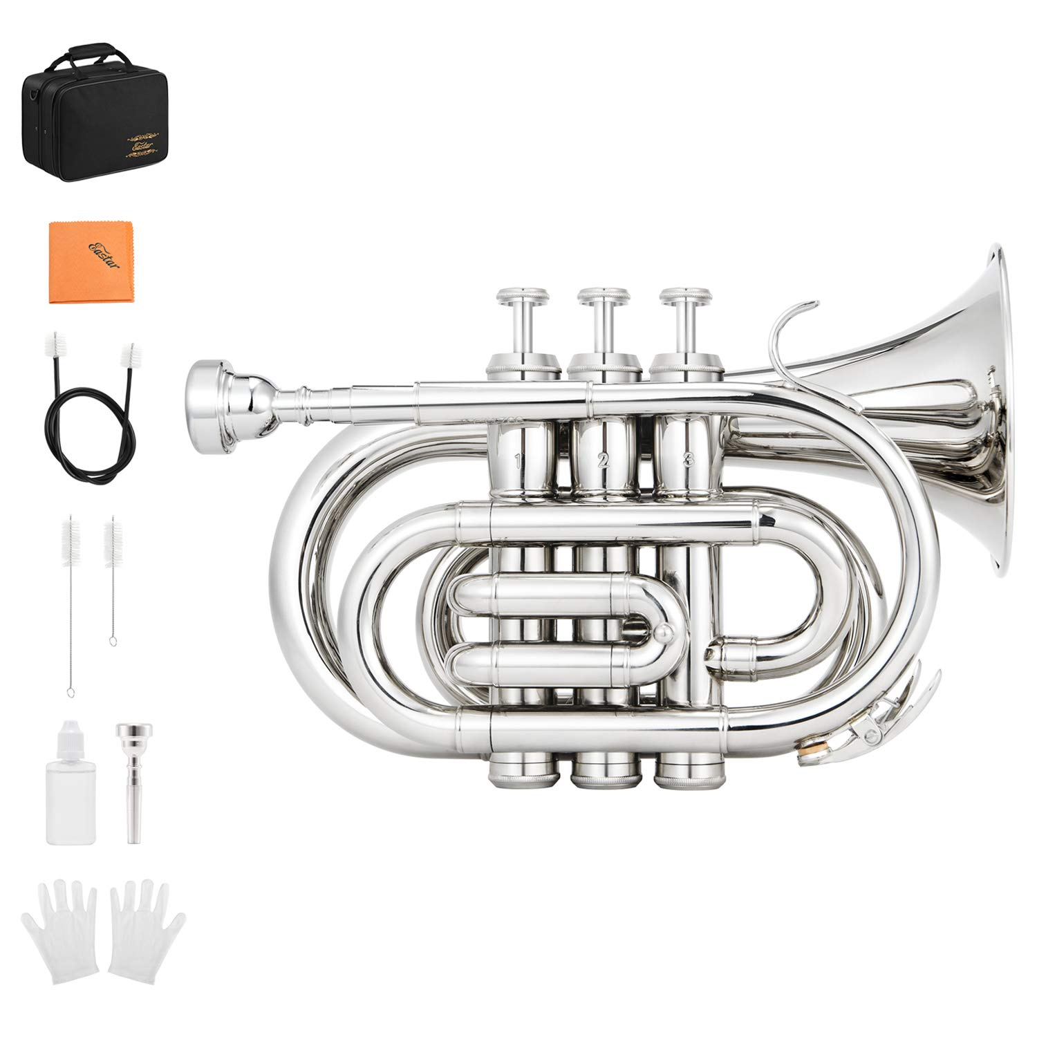 Eastar ETR-330N Pocket Trumpet Bb Nickel Plated with Hard Case, Gloves, 7 C Mouthpiece, Valve Oil, Trumpet Cleaning Kit by Eastar (Image #1)