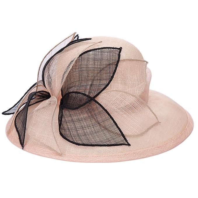 ba9332fbb15 June s Young Women Hats 3 Layers Sinamay Wedding Hats Champagne Black Sun  Hat Saratoga Race Course  Amazon.co.uk  Clothing