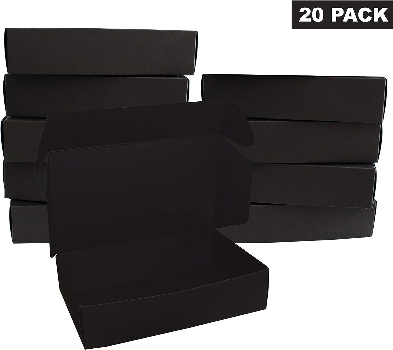 Negro Regalo Caja (20 Pack) - Cajas de regalo (19 x 11 x 4,5 cm) - Cajas de presentación de paquete plano para chocolates, regalos & joyas - Fiesta, festivales & ocasiones de boda