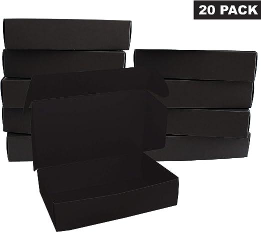 Negro Regalo Caja (20 Pack) - Cajas de regalo (19 x 11 x 4,5 cm) - Cajas de presentación de paquete plano para chocolates, regalos & joyas - Fiesta, festivales ...