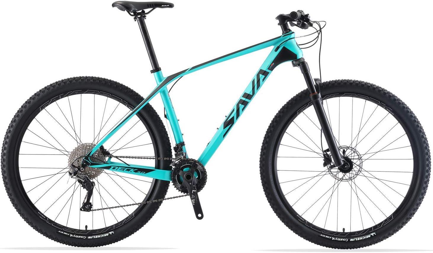SAVADECK DECK6.0 - Bicicleta de montaña de carbono ultraligera con 30 marchas Shimano DEORE M6000 Group Set y cola dura completa