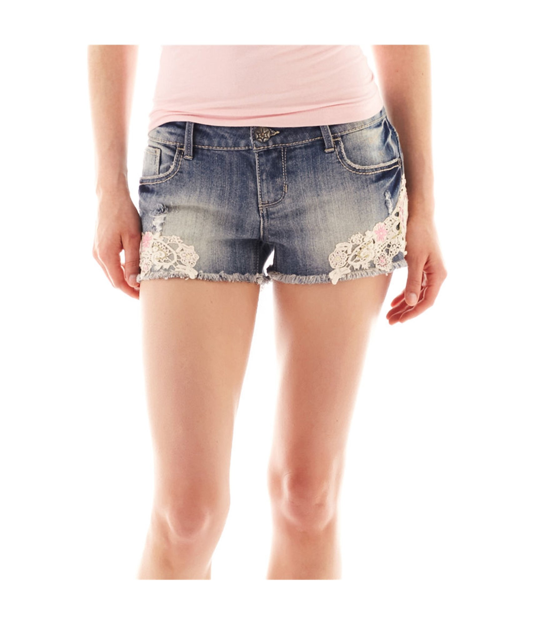 Vanilla Star Womens Lace Casual Denim Shorts Blue 3 - Juniors