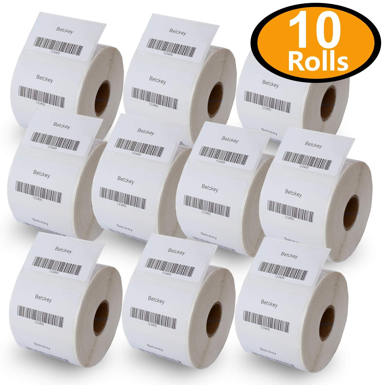 10 Rolls DYMO 30334 Compatible 2-1/4'' x 1-1/4''(57mm x 32mm) Medium Multipurpose/Barcode/FNSKU/UPC/FBA Labels,Strong Permanent Adhesive, Perforated