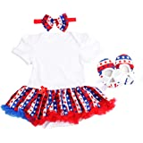 Slowera Baby Girls 4th Of July American Flag Romper Dress Shoes and Headband