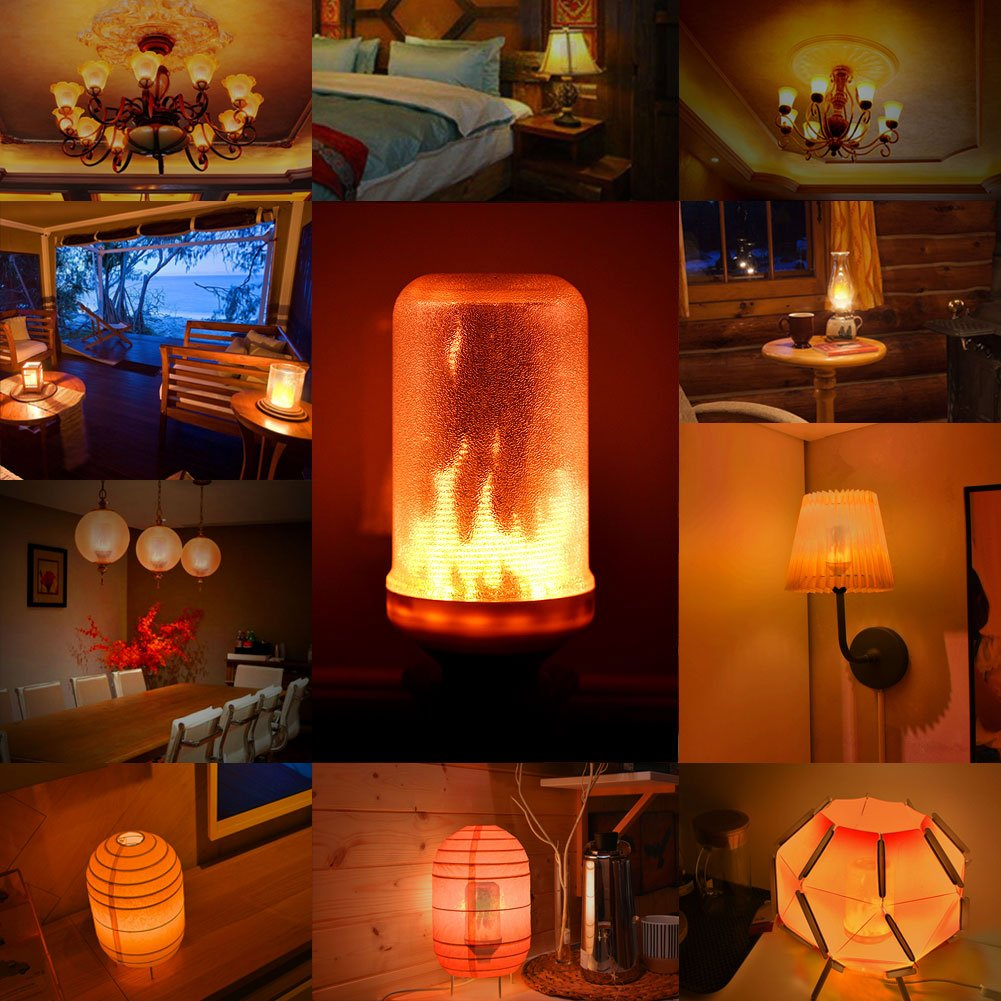 Pack of 4 Simulated Decorative Atmosphere Lamps for New Year//Festival//Hotel//Bars//Home Decoration Flame Bulb,Lumiereholic E27 LED Flame Flickering Effect Fire Light New Year Bulbs