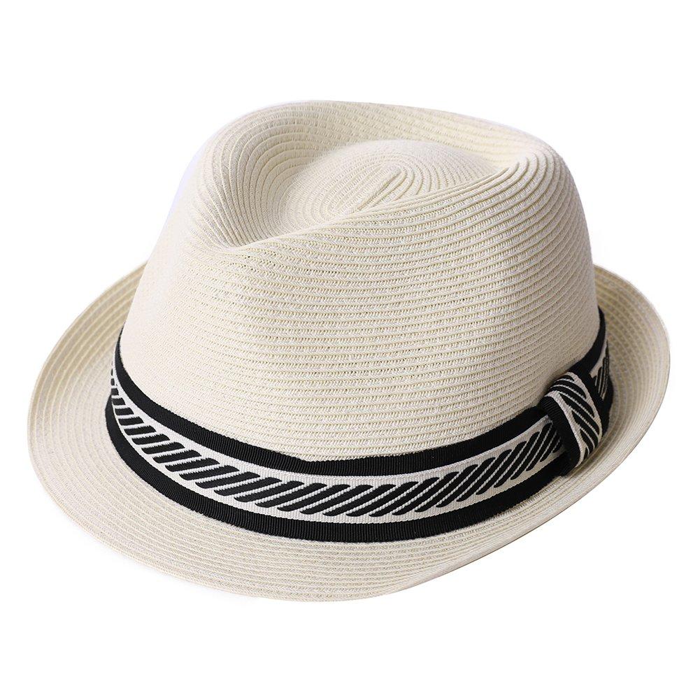 Straw Fedora Summer Panama Beach Hat Men Lady Dress Sun Fashion Crushable White