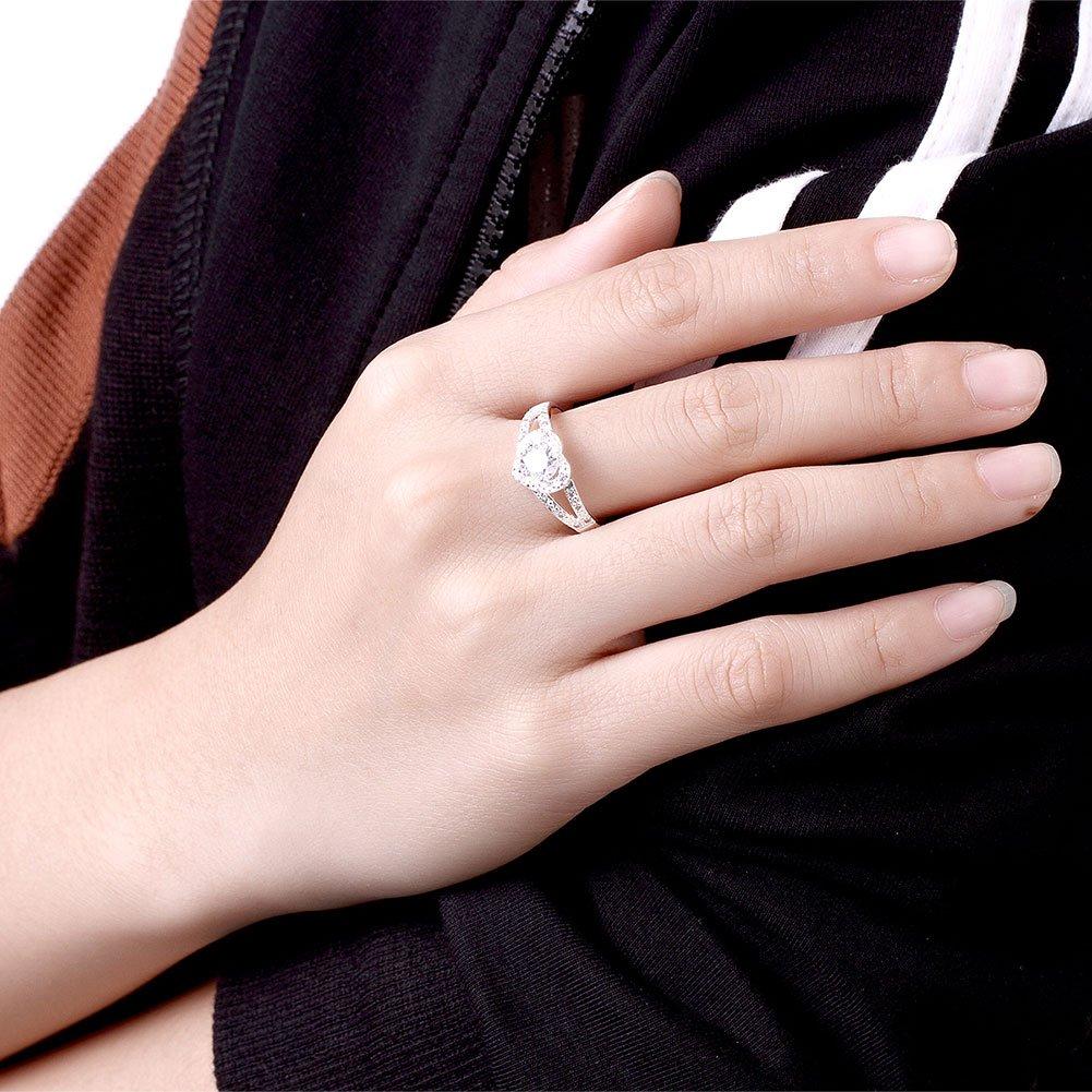 Amazon.com: KOREA-JIAEN Cubic Zirconia Ring 925 Sterling Silver ...