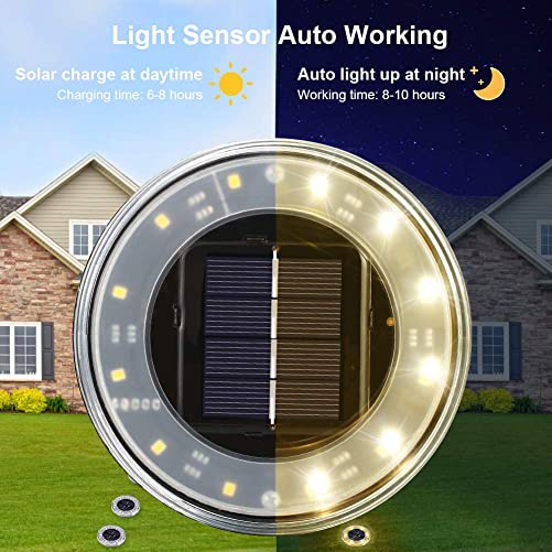 Newest Litake Solar Ground Lights Outdoor Disk Solar Lights Warm White-4 PACK, IP68 Waterproof Bright 12 led beads In-Ground Lights for Pathway Landscape Walkway Deck Patio Garden Lawn Yard Driveway