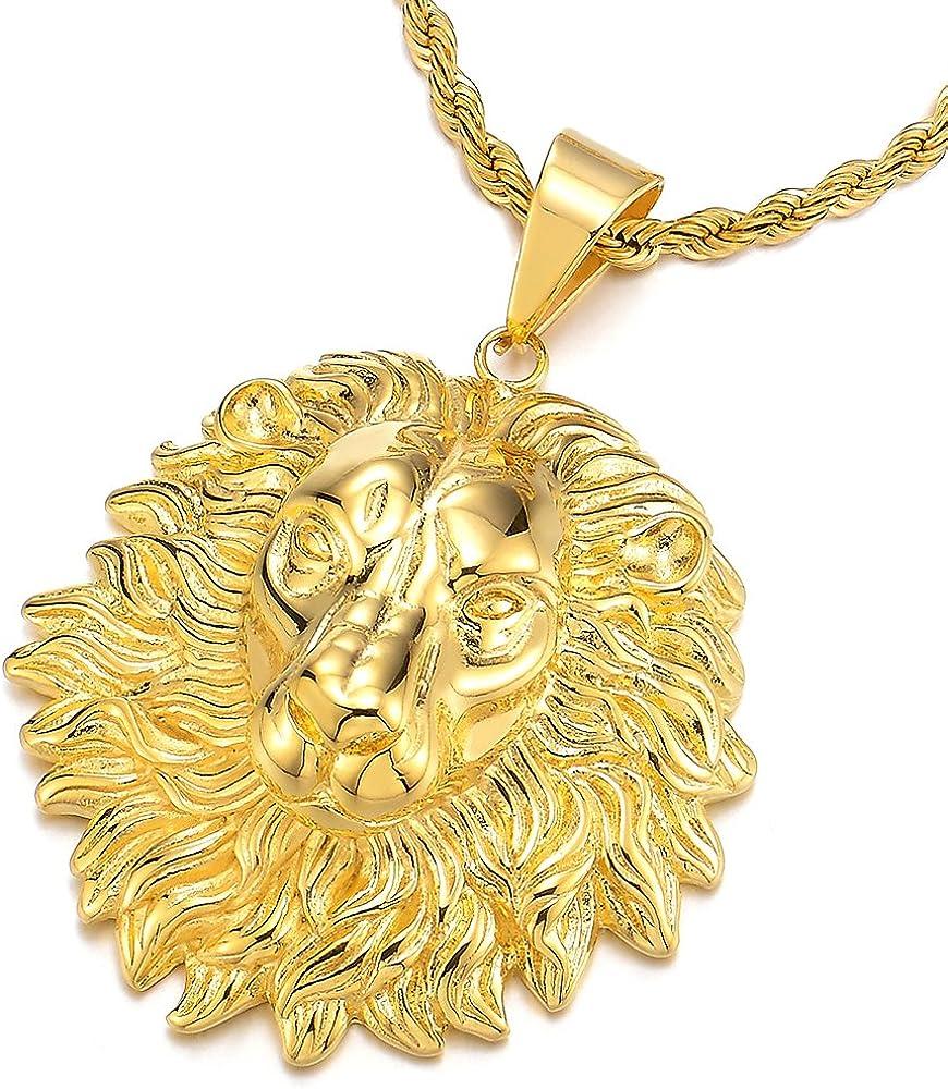 COOLSTEELANDBEYOND Couleur dor T/ête de Lion Pendentif de Collier Homme Femme Acier Inoxydable AVCE 75cm Cha/îne de Corde