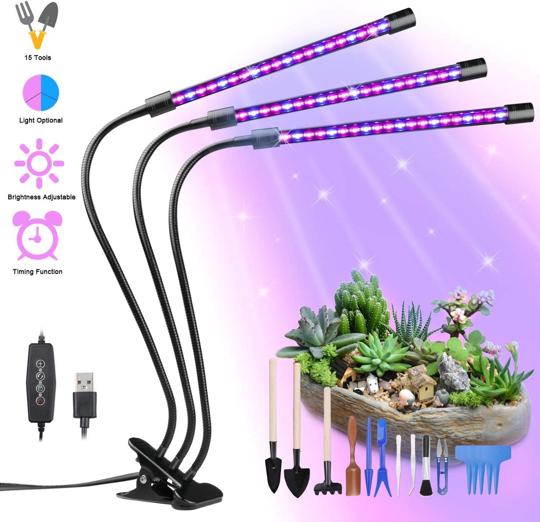 Lámpara de Plantas, GolWof 60 LED Luz de la Planta Iluminación 27W con 15 Herramientas de Jardinería, 3 Modos de Lluminación, 5 Niveles Regulables, Rotación de 360° y Función de Temporizador