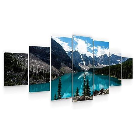 Startonight Grande Quadro su Tela - Lago Chiaro tra Le Montagne - Grandi  Quadri Moderni Paesaggio - Stampe Soggiorno XXL di 7 Parti 100 x 240 cm