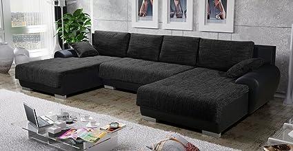 rencontrer 22299 05e3e Canapé d'angle en U Convertible TEREN Tissu Noir Design