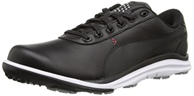 PUMA Golf Men's Biodrive Leather WB Black/White/Tango Red Athletic Shoe