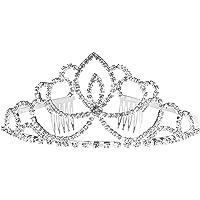 Tiara de cristal de estrás – perfecta para bodas, novias, bailes, cumpleaños, desfiles, corona de princesa, plata – 12.2…