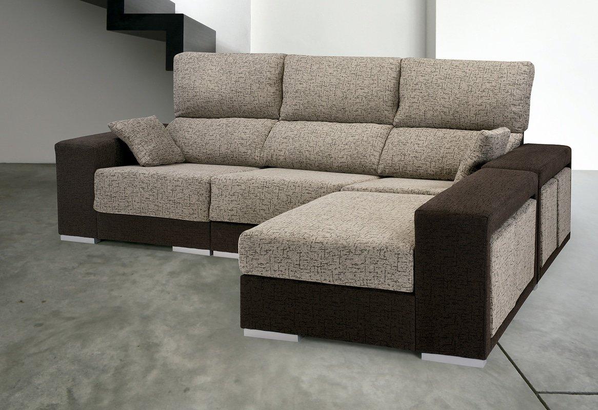 SMT - Sofa Chaise Longue Orihuela 255Ctms. Beige/Chocolate, 100 X 255 X 85-175 (NO ENVIAMOS A BALEARES)