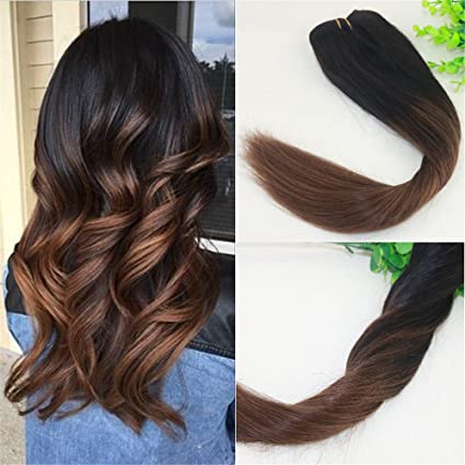 Balayage ombre off nero marrone scuro dritto highlight kit di Remy Hair  Weft Bundle clip in ... b7dbe7b0d900