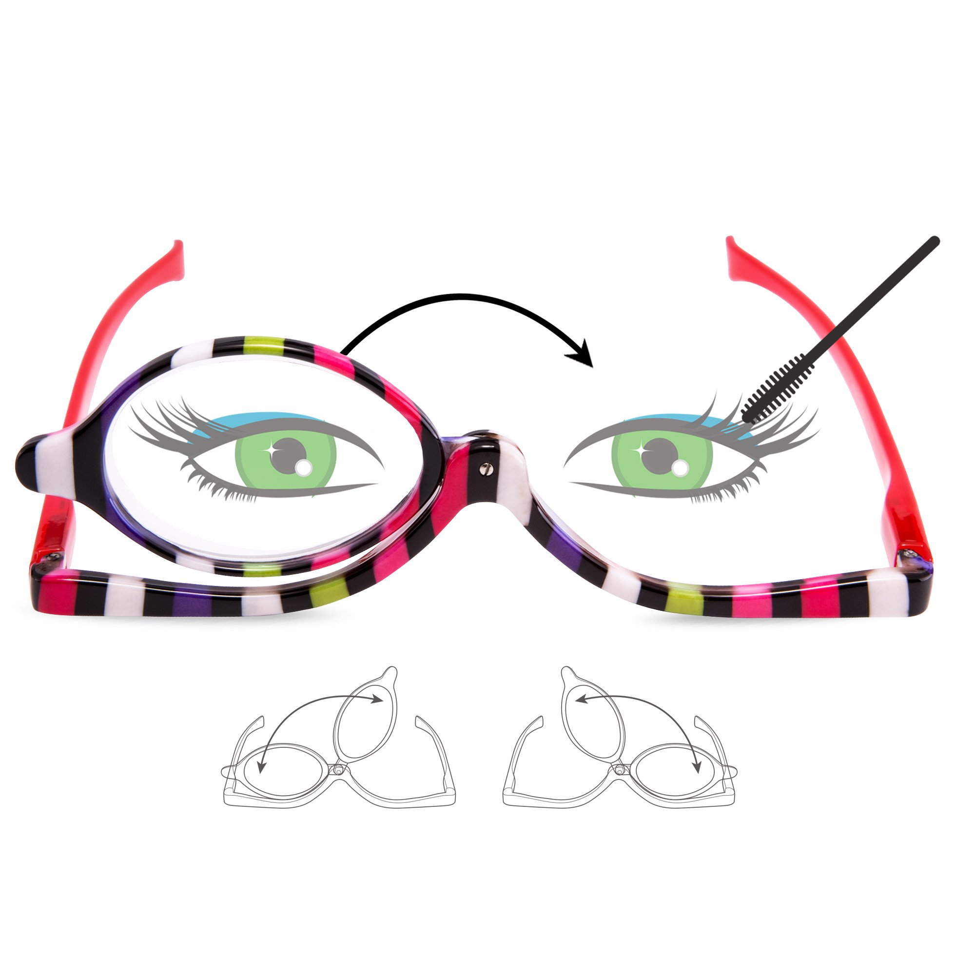 EYEGUARD Readers 2 Pack Magnifying Makeup Glasses Eye Make Up Spectacles Flip Down Lens Folding Cosmetic Womens Reading Glasses +2.50